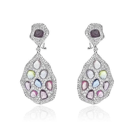 18W 18x Multi Coloured Sapp Irregular Rosecuts 10.33ct with RNC Dia Pave 3.32ct Drop Earrings
