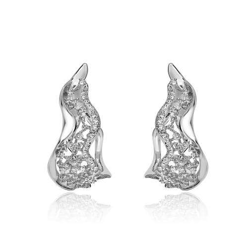 18W 102x RBC 0.58ct Fancy Wavy Latis Earrings