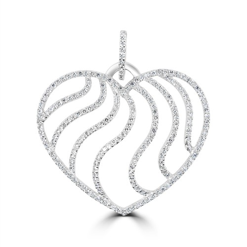 18W 218x RBC Dia 1.61ct Heart Shaped Wavey Detailed Pave Pendant