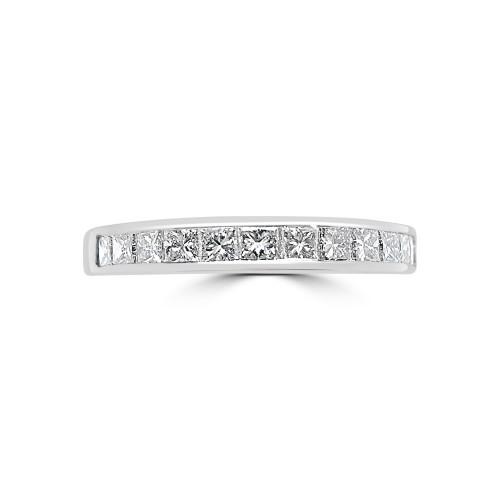 18W 12x Princess Dia 0.57ct Channel Eternity Ring