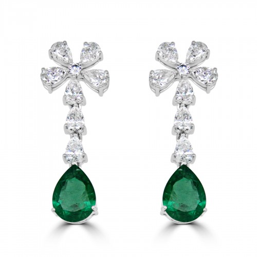 18W 2x Emld Pear 5.31ct w/ 16x Pear & RBC Dia 5.21ct Facny Drop Flower cluster Top Earrings