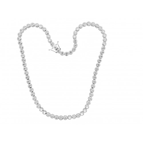 18W 76x RBC Dia 14.50ct Rubover Full Line Necklace