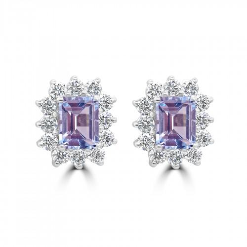 18W 2x Aqua Oct 2.38ct w/ 24x RBC Dia 1.80ct Cluster Earrings