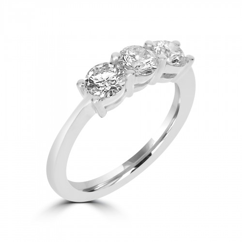 18ct WG RBC Shared Claw 3 Stone Ring