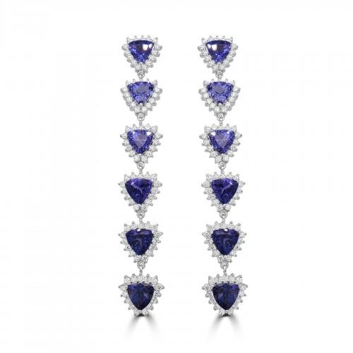 18W 12x TZ Trill 24.52ct w/ 180x RBC Dia 4.91ct Cluster Long Drop Earrings