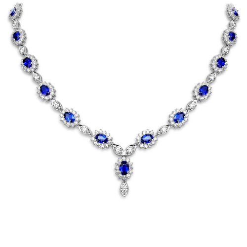 18W 23x Sapp Oval 21.75ct w/ 350x RBC Dia 11.51ct Cluster (Marq) Y Drop Necklace