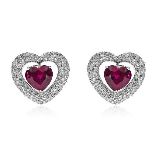 18ct WG Ruby Heart Shapes with Pave RBC Surround Earrings