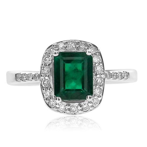 18ct WG Emerald Octagon with RBC Surround & Shoulders Ring