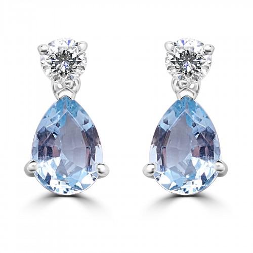 18W 2x Aqua Pear 1.23ct w/ 2x RBC Dia 0.25ct 3 Claw Drop Earrings