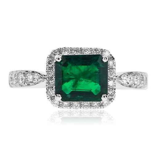 18ct WG Emerald Octagon with RBC Surround and Shoulders Ring
