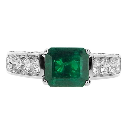 18ct WG Emerald Octagon with Diamond Set Shoulders Ring