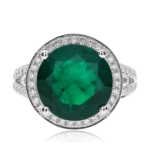 18ct WG Emerald Round with RBC Surround & Split Shoulders Ring