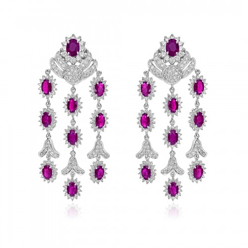 18ct WG Ruby Oval & RBC Fancy 3 Drop Earrings