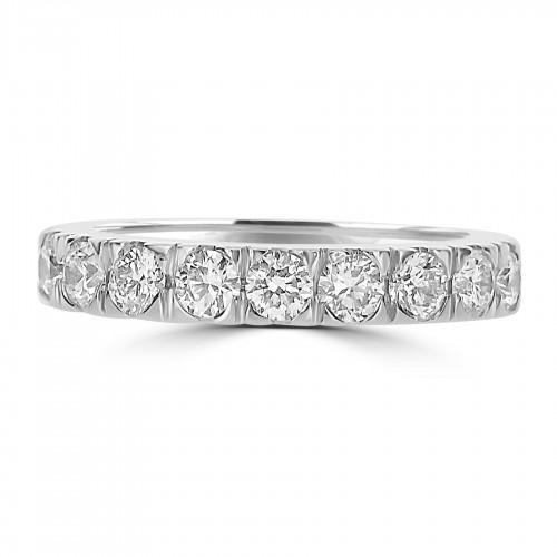 18ct WG RBC 9 Stone Half Set Eternity Ring