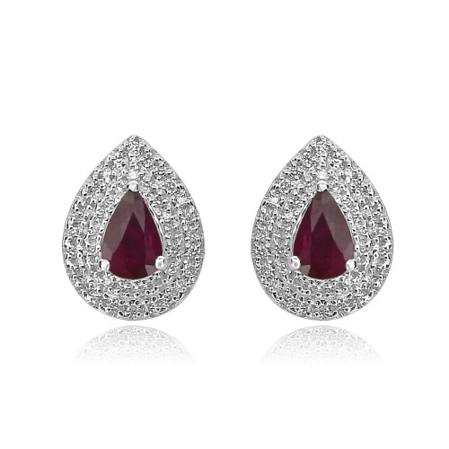 18ct WG Ruby Pear & RBC Pave Halo Earrings