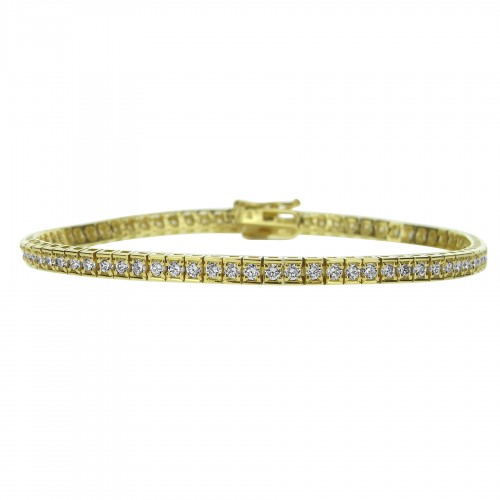 18ct YG RBC 1.45ct Rectangular Link Line Bracelet