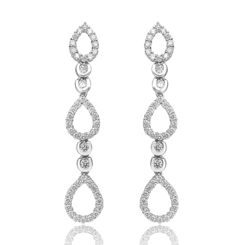 18ct WG RBC Pave Teardrop 3 Tier Drop Earrings