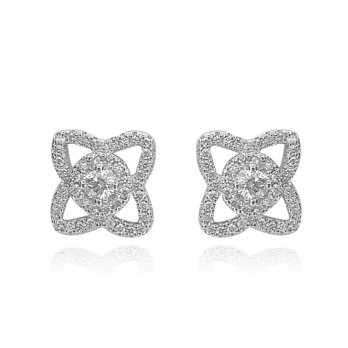 18ct WG RBC Pave Lotus Stud Earrings