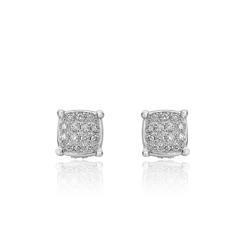 18ct WG RBC Pave Stud Earrings