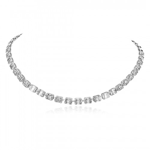 18W 165x Dia Baguettes 5.60ct with 132x RBC 0.54ct Cluster and Bar Half Set Line Necklace