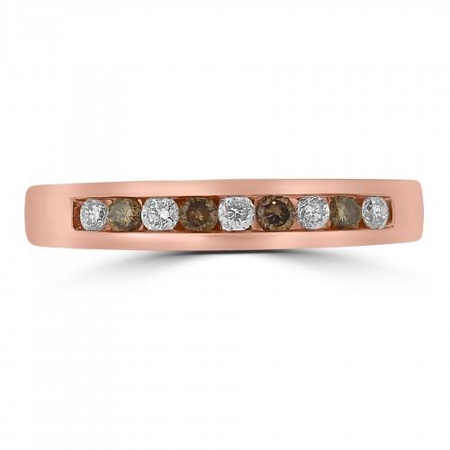 18ct RG Diamond & Cognac Diamond Channel Set Half Eternity Ring