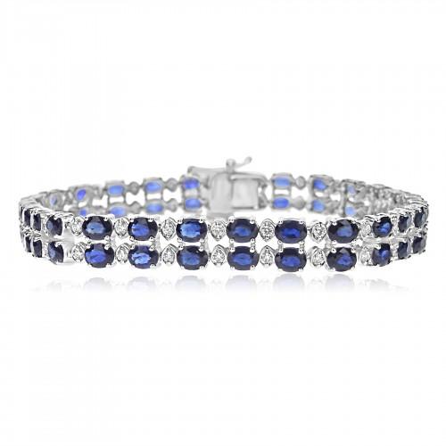 18ct WG Sapphire w/ RBC 2 Row Line Bracelet