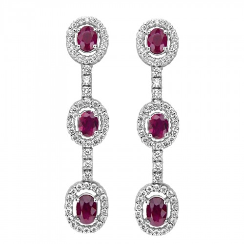 18ct WG Ruby Oval & RBC Halo Drop Earrings