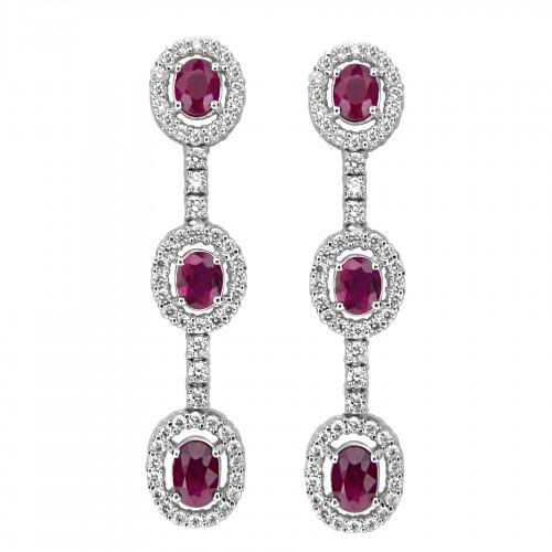 18ct WG Ruby Oval & RBC Halo Drop Earrings
