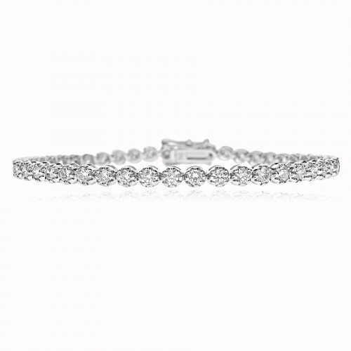 18ct WG RBC 3.40ct 8 Claw Line Bracelet