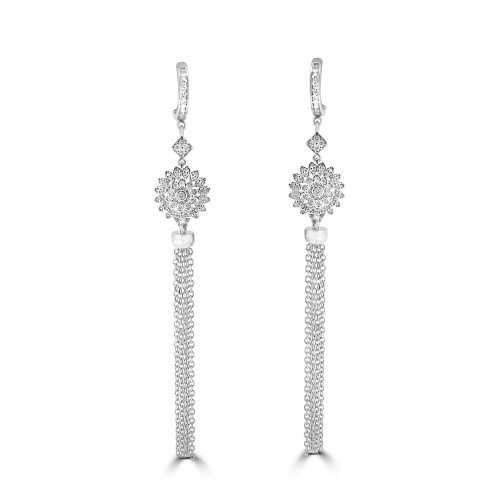 18ct WG RBC Flower Cluster with Tassel Drop Earrings