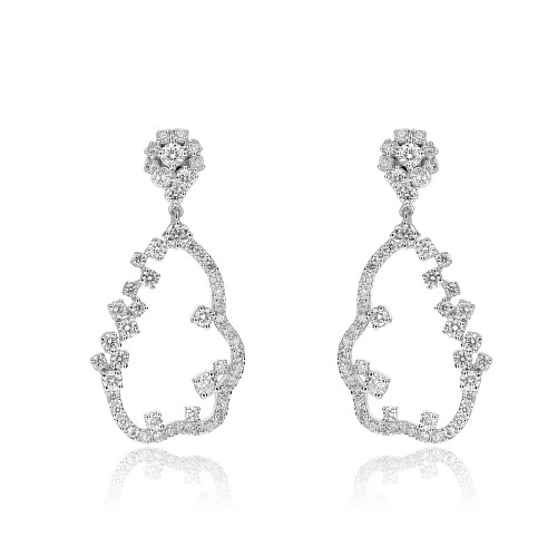 18ct WG RBC Long Outline Cloud Drop Earrings