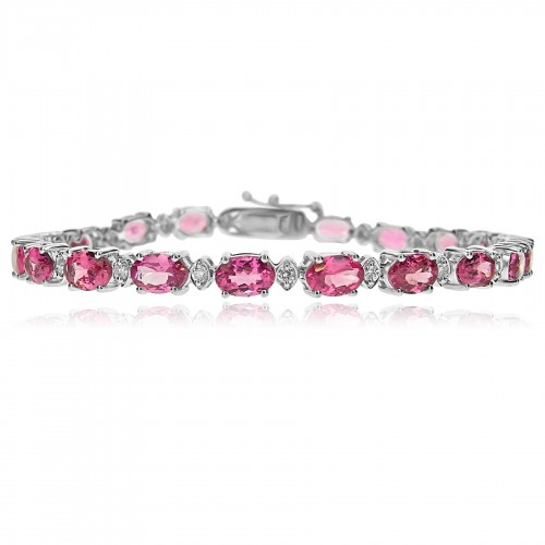 18W Red Spinel OVAL 9.72ct w/ RBC 0.41ct (Marq) Line Bracelet