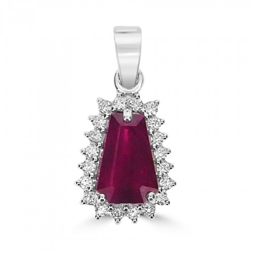 18W 1x Ruby T.Bag 4.62ct with 20x RBC 0.40ct Cluster Pendant