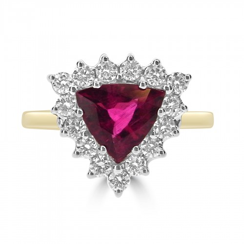 18ct YWG Rubelite with RBC Cluster Ring