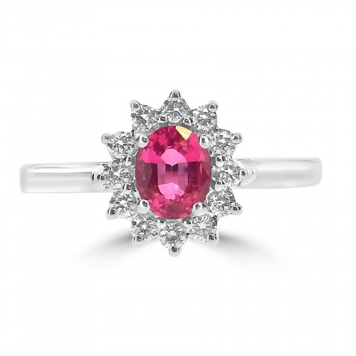 18ct WG Spinel with RBC Cluster Ring