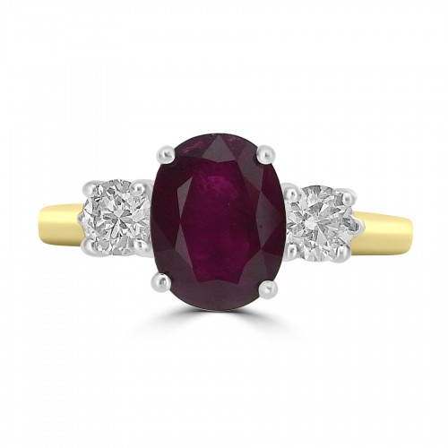 18ct YWG Ruby Oval 2.31ct with RBC 3 Stone Ring