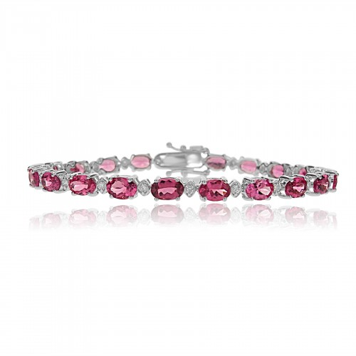 18W Red Spinel OVAL 9.84ct w/ RBC 0.40ct (Marq) Line Bracelet