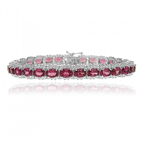 18W Red Spinel OVAL 14.76ct w/ RBC 2.95ct Cluster Line Bracelet