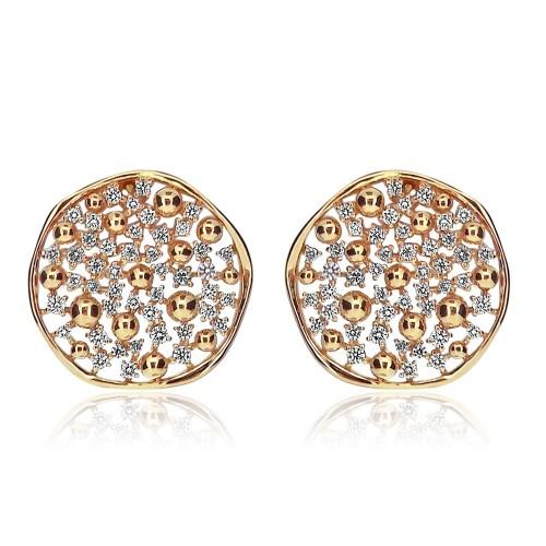 18ct RG Irregular Shaped Disc w/ RBC & Plain RG Balls Fancy Earrings