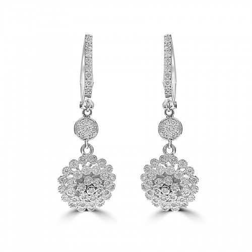 18W 100x RBC Dia 0.48ct Grain Claw Cluster w/ Pave Disc Drop Earrings