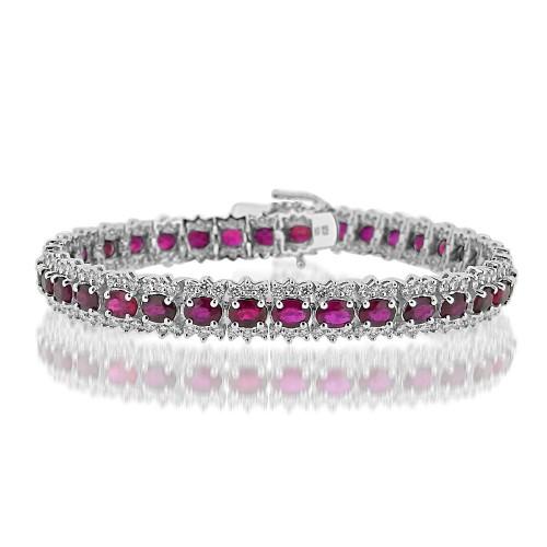 18W Ruby Ovals 8.26ct w/ RBC 3.04ct Cluster Style Fancy Bracelet