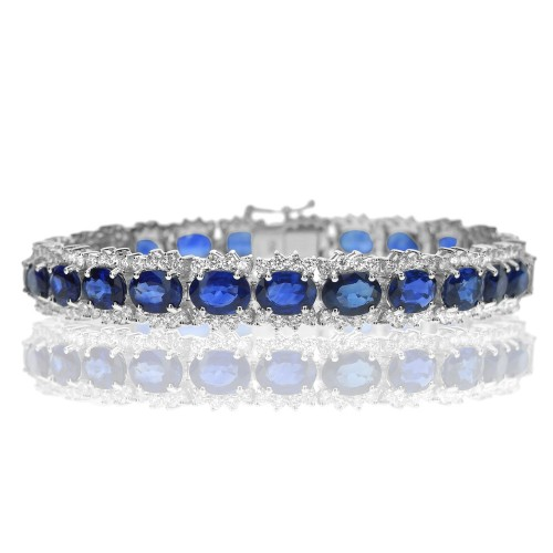 18W BSAP OVAL 15.68ct w/ RBC 2.54ct Cluster Style Fancy Bracelet