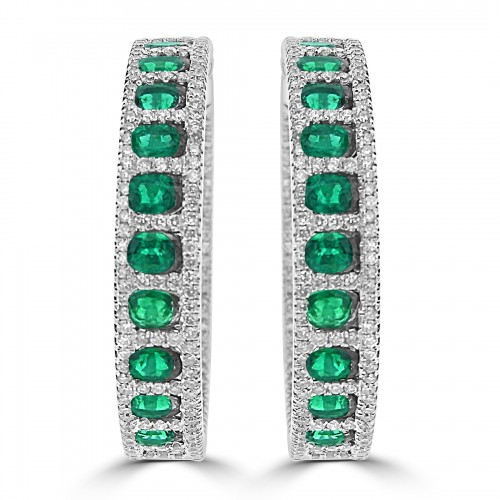 18w Emerald Ovals With Rbc Pave Surround Hoop Earrings