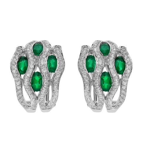 18w Emerald Ovals With Rbc Pave Wave Design Omega Clip Earrings