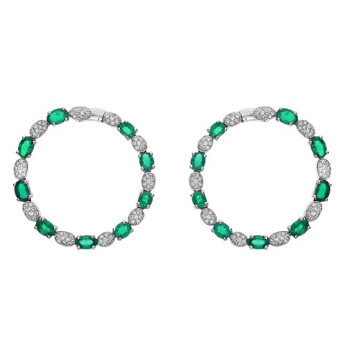 18w Emerald Ovals Alternating With Rbc Pave Ovals Hoop Earrings