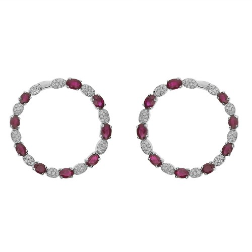 18W 18x Ruby Oval 9.29ct Alternating w/ 18W Oval Shapes Pave Set RBC 1.36ct Front Sitting Hoop Earrings