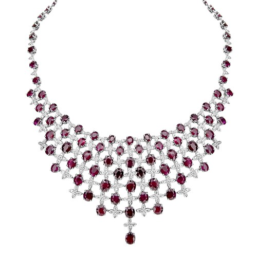 18W 88x Ruby Ovals 49.91ct With Rbc 2.16ct Set In Marq Shape (4 Marq Shapes Clustered Together Between Each Oval) Bib Style Necklet