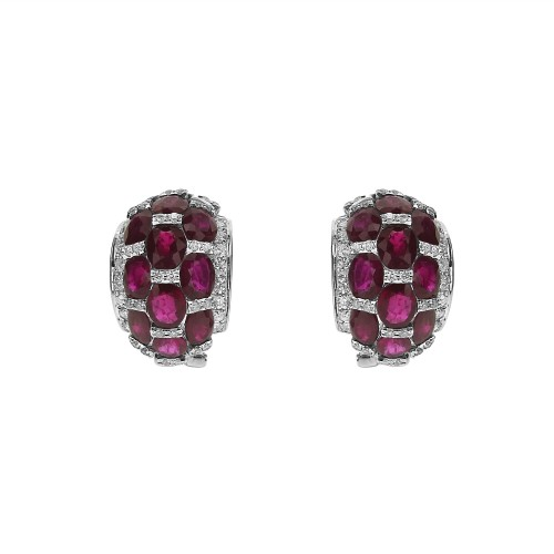 18W 24x Ruby Ovals 8.58ctw/ RBC 0.78ct Halo Domed Crescent Shape Omega Clip Earrings
