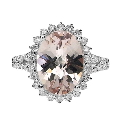 Morganite & Diamond Cluster Ring