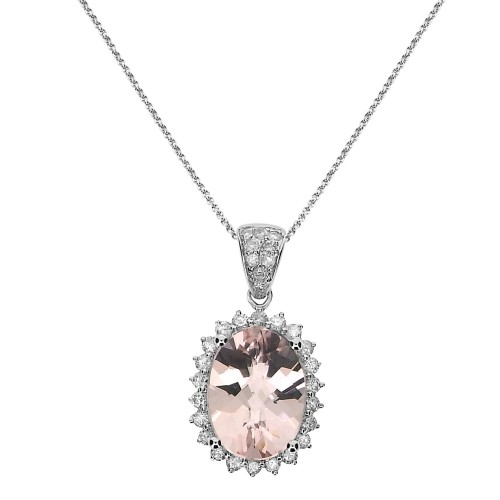 Morganite & Diamond Cluster Pendant